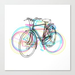 Artistic modern pink teal abstract bicycles art Canvas Print