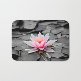 Pink Waterlily on Black Gothic Leaves. Bath Mat