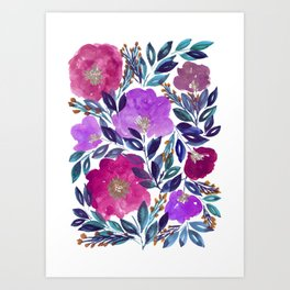 hand painted flowers_2 Art Print