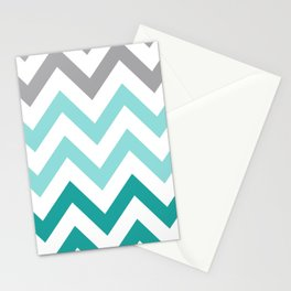 TEAL FADE CHEVRON Stationery Cards