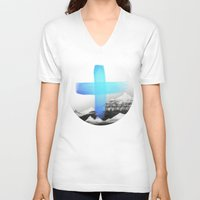 mountains V-neck T-shirts featuring Mountains by Amy Hamilton