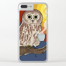 Coffee Owl Clear iPhone Case