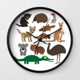 Animals Australia: Echidna Platypus ostrich Emu Tasmanian devil Cockatoo parrot Wombat crocodile Wall Clock