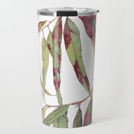 A touch of red - watercolour of eucalyptus branch Travel Mug