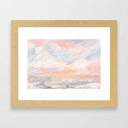 Winter Seascape - Pink Skies Framed Art Print