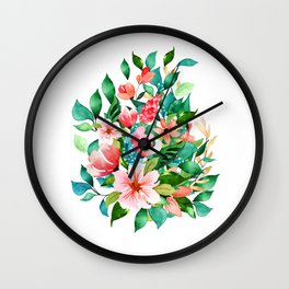 Colorful island floral brunch bouquet Wall Clock
