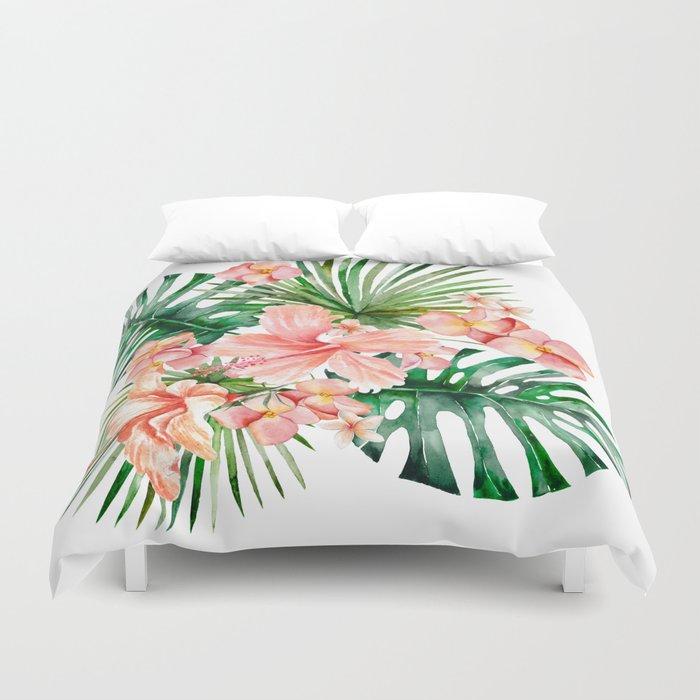Tropical Jungle Hibiscus Flowers - Floral Bettbezug