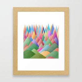 041 Owly climbing succulent mountain pattern Framed Art Print