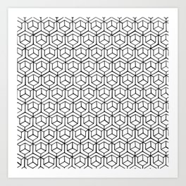 Hand Drawn Hypercube Art Print