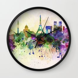 Paris skyline in watercolor background Wall Clock