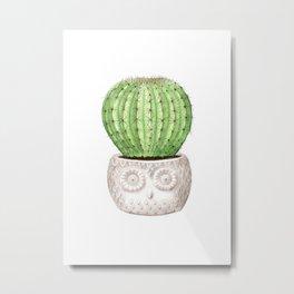 Watercolor Illustration of A Cactus Metal Print