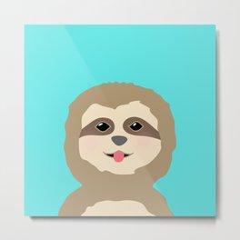 Baby Sloth Portrait Metal Print