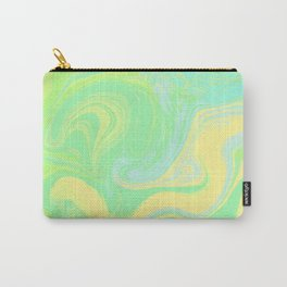 Lime Green Marble. Digital Suminagashi Liquid Color Abstraction Carry-All Pouch