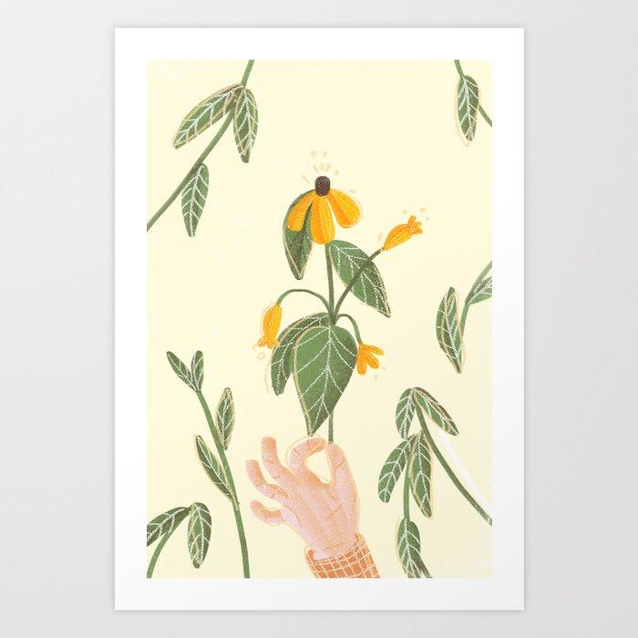 Flower in a hand Art Print