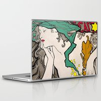 mucha Laptop & iPad Skins featuring Vintage Alphonse Mucha Poster Girl by Iconographique