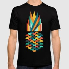 Groovy Pineapple Black SMALL Mens Fitted Tee