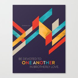 One Another Scripture Poster: Romans 12 Canvas Print