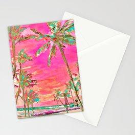Retro Hawaiian Beach, Mauna Lani Pink Stationery Cards