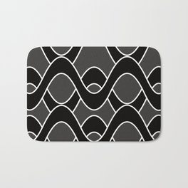 Curvlinear in black , white and gray Bath Mat