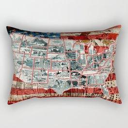 usa map urban city collage Rectangular Pillow