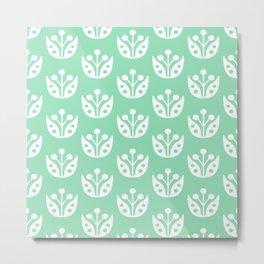 Mid Century Modern Abstract Flower Pattern 821 Mint Green Metal Print