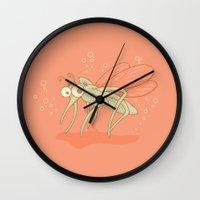 drunk Wall Clocks featuring Drunk by Lili Batista