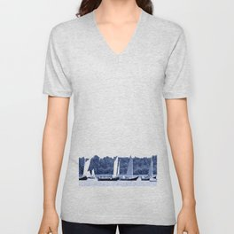 Dutch sailing boats in Delft Blue colors Unisex V-Neck