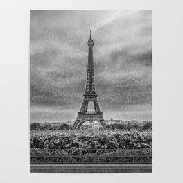 PARIS Eiffel Tower Thunderstorm Poster