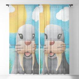 Barbara Walrus - Not 20/20, but close - Nursery Art Sheer Curtain
