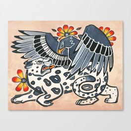 Golden Eagle, Jaguar, and Peyote Flowers Canvas Print