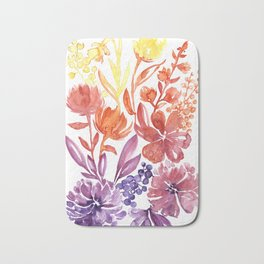 Floral abstract and colorful watercolor illustration Bath Mat