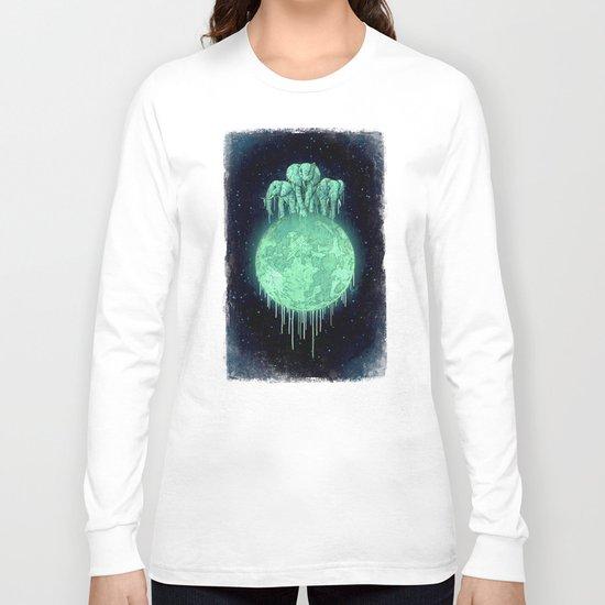 elephants on moon (variant) mint Long Sleeve T-shirt