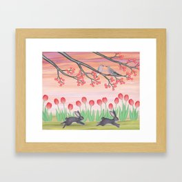 bunnies, tulips, and mourning doves Framed Art Print