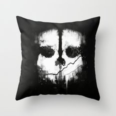 Call of Duti Skull Ink Throw Pillow
