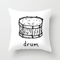 drum Throw Pillows featuring drum by Isaac Collmer