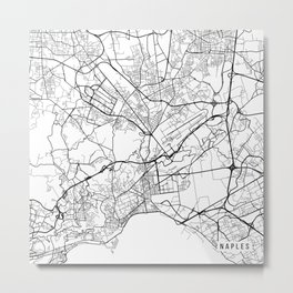 Naples Map, Italy - Black and White Metal Print