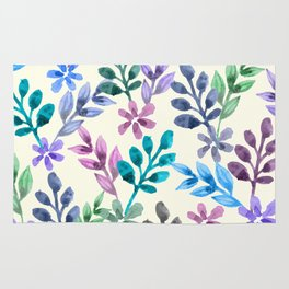 Watercolor Floral Pattern Rug