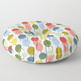 Retro Holiday Stripes of Modern Circles Snowflakes Christmas Trees Peppermints Stars Floor Pillow