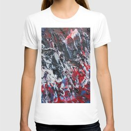 black red white blue abstract paint T-shirt