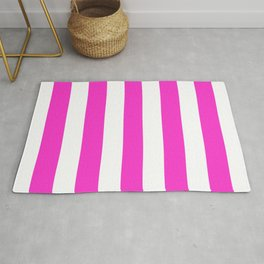 Razzle dazzle rose - solid color - white stripes pattern Rug