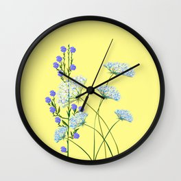 My Kentucky Wild Flowers, Queen Anne Lace and Flax Wall Clock