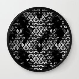 Geometric Fractal Triangles Black Noir Wall Clock
