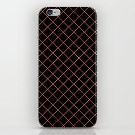 Pantone Living Coral Thin Line Stripe Grid (Pinstripe Pattern) on Black iPhone Skin