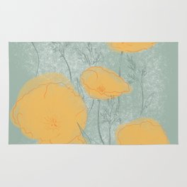 California Poppies in Gray Rug