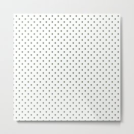 Small Dark Forest Green Polka Dot Spots on White Metal Print