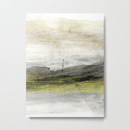 Yellow Grey White Abstract Landscape Painting Metal Print