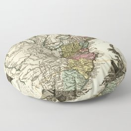 Map of Early America (1778-1783) Floor Pillow