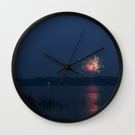 Fireworks Over Lake 14 Wall Clock