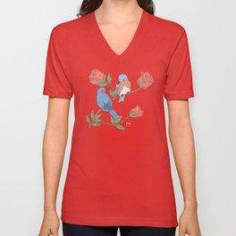 Bluebird & Roses Unisex V-Neck