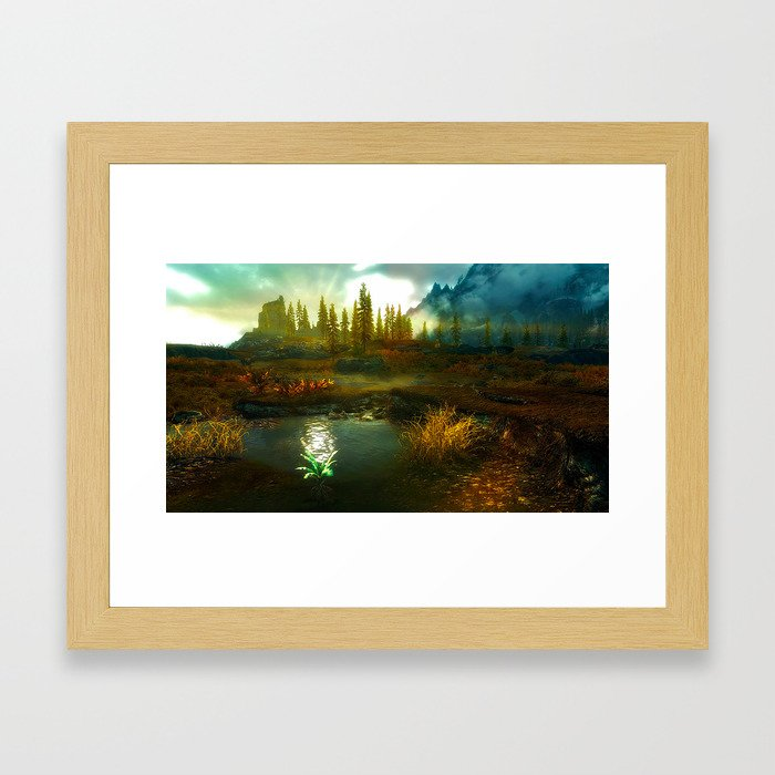 Landscape of Skyrim Framed Art Print